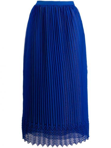 Плиссированная юбка с завышенной талией синяя Marco De Vincenzo
