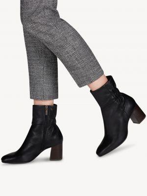 Черные кожаные ботинки Tamaris