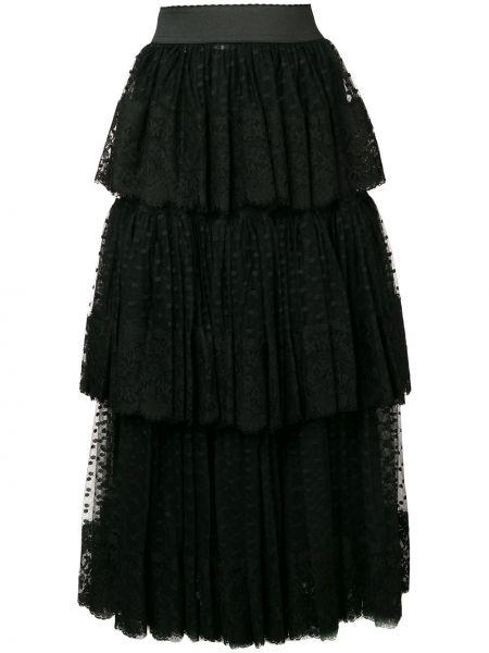 Spódnica plisowana tiulowa - czarna Dolce And Gabbana