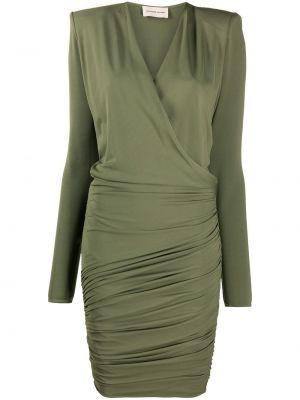 Зеленое платье мини с длинными рукавами с V-образным вырезом Alexandre Vauthier