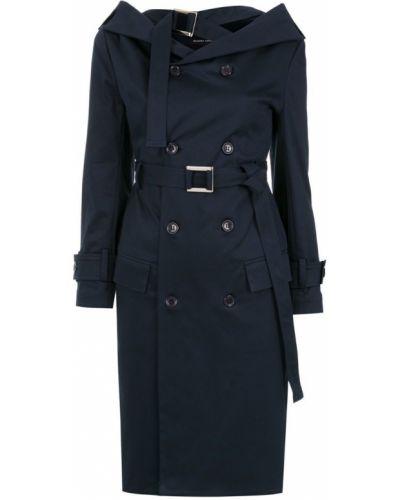 Синее пальто классическое с поясом Gloria Coelho