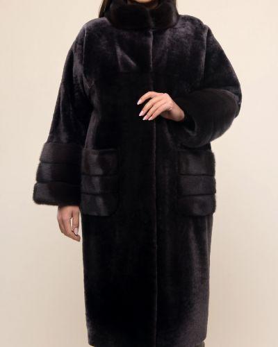 Норковое серое пальто с воротником Aliance Fur