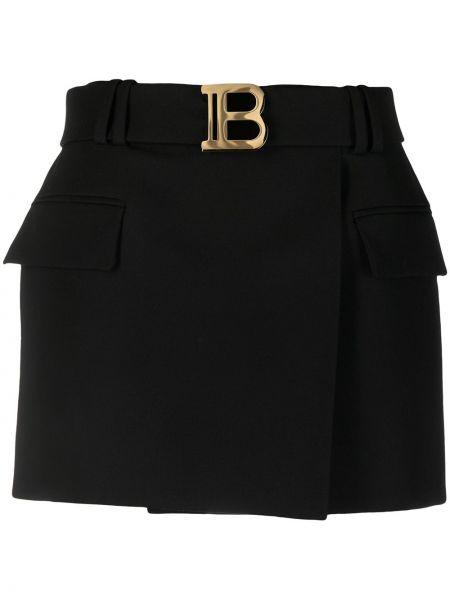 Шерстяная черная юбка с карманами Balmain