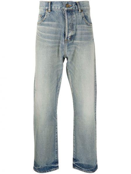 Prosto bawełna niebieski jeansy o prostym kroju z kieszeniami Saint Laurent