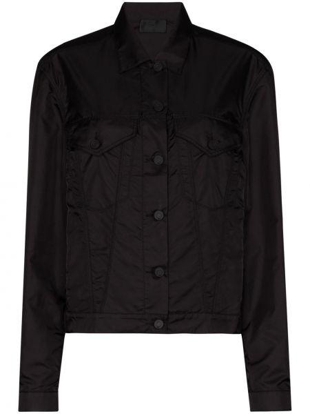 Czarna kurtka z nylonu z długimi rękawami Rta