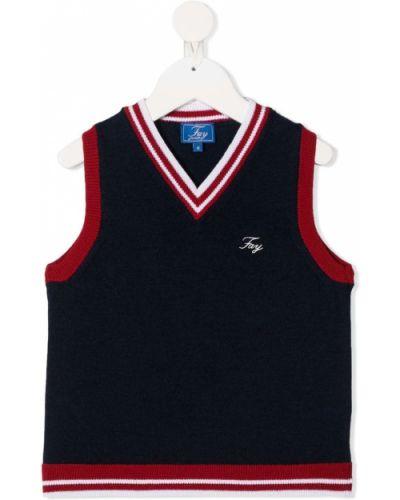 Шерстяной белый свитер с V-образным вырезом с вышивкой Fay Kids