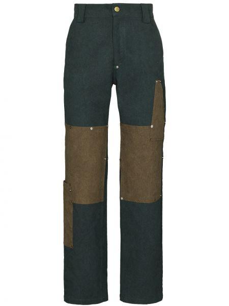 Прямые брюки с поясом пэчворк с заплатками с высокой посадкой Phipps