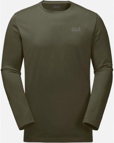 Зеленая футболка на молнии Jack Wolfskin