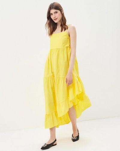 Желтое платье с открытыми плечами Imperial