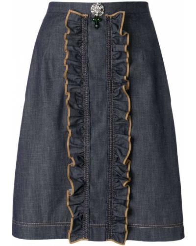 Джинсовая юбка с завышенной талией с воланами N21