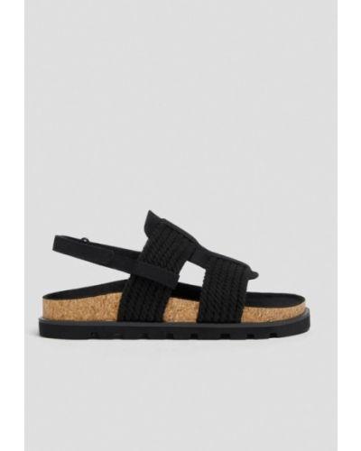 Хлопковые черные сандалии Pull&bear
