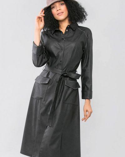 Кожаное черное платье Maxa