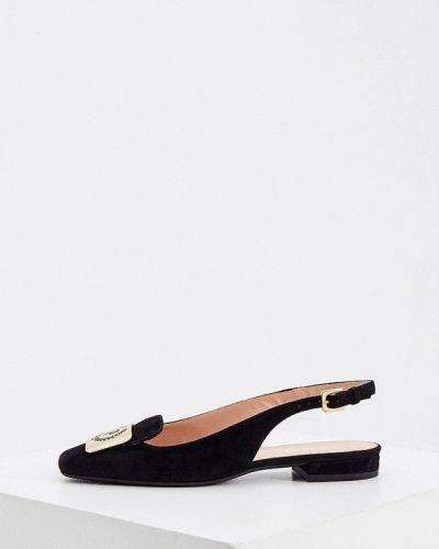Велюровые туфли - черные Pollini