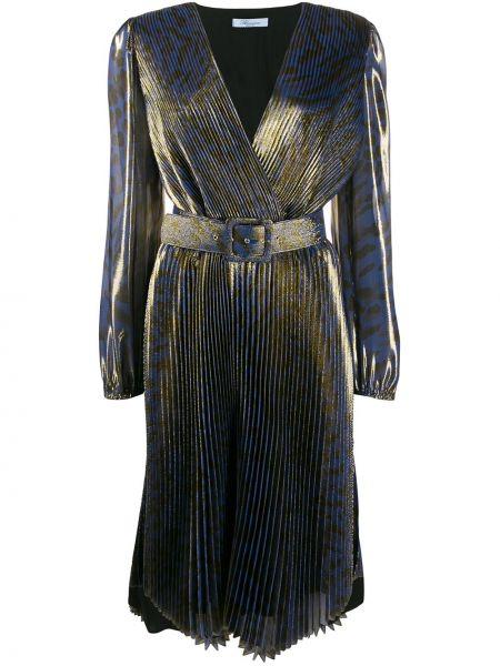 Плиссированное синее шелковое платье миди на молнии Blumarine