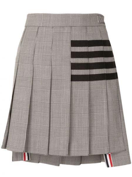 Wełniany pofałdowany czarny spódnica mini Thom Browne