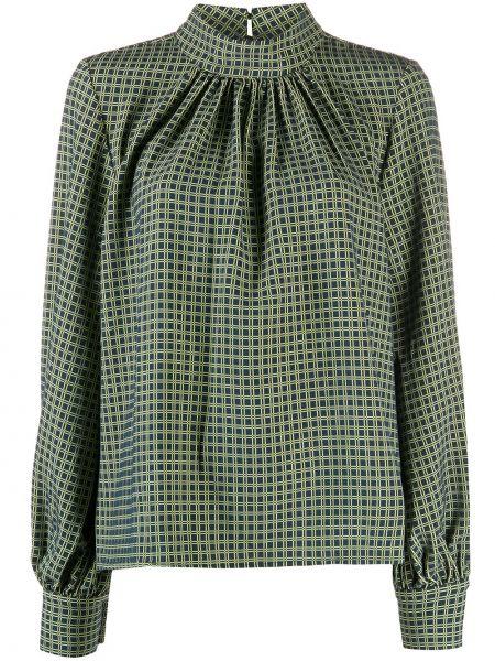 С рукавами зеленая прямая блузка с длинным рукавом с воротником Stine Goya