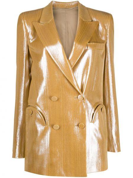 Желтый пиджак с карманами на пуговицах двубортный Blazé Milano