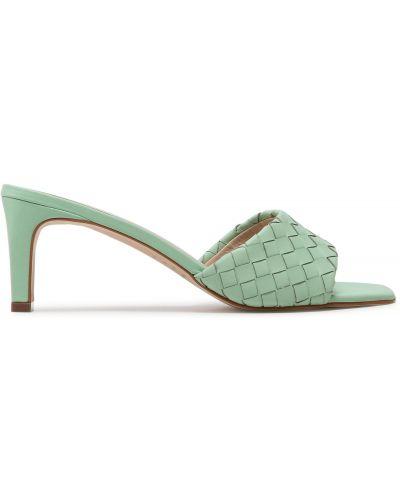Шлепанцы на каблуке - зеленые Eva Longoria