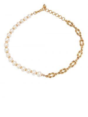 Złoty naszyjnik łańcuch - biały Brinker & Eliza
