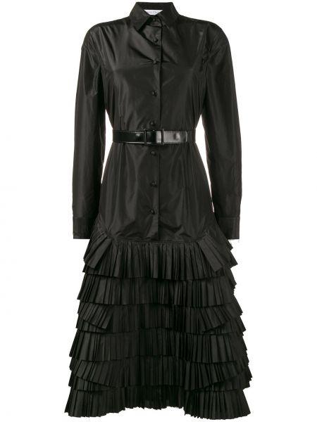 Черное кожаное платье миди Olivier Theyskens