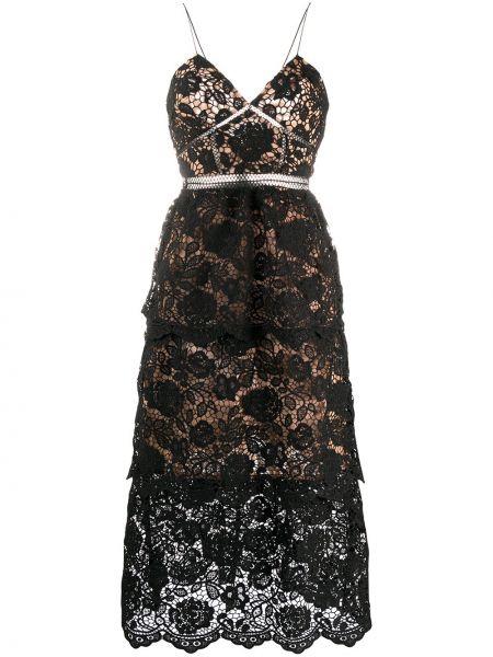 Ажурное черное платье миди с открытой спиной Self-portrait