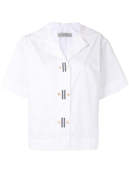 Белая прямая рубашка с коротким рукавом с вышивкой на пуговицах Palmer / Harding
