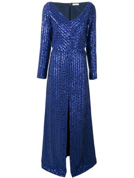 Платье макси с пайетками в полоску Nina Ricci