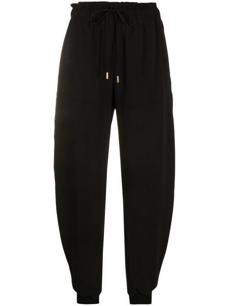 Шелковые зауженные черные спортивные брюки с поясом Chloé