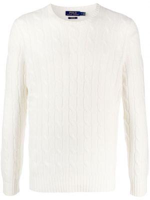 Kaszmir biały koszulka polo z długimi rękawami Polo Ralph Lauren