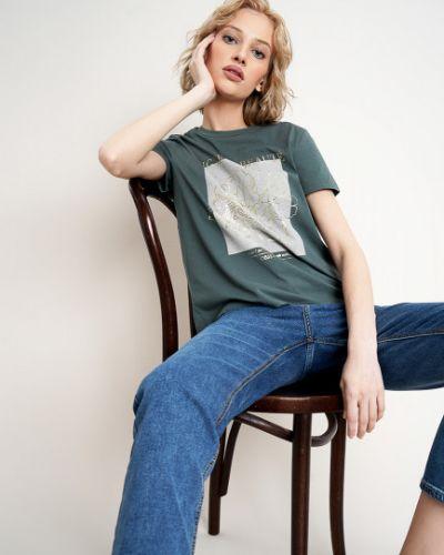 Зеленая футболка с вырезом с короткими рукавами Ostin