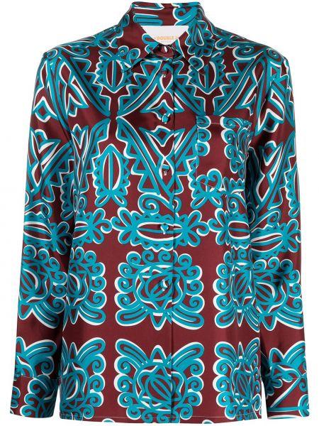 Шелковая синяя с рукавами классическая рубашка La Doublej