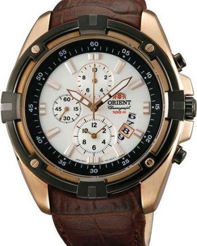 Часы водонепроницаемые с подсветкой с кожаным ремешком Orient