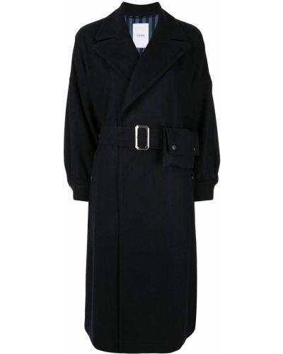 Приталенное шерстяное черное длинное пальто Ujoh