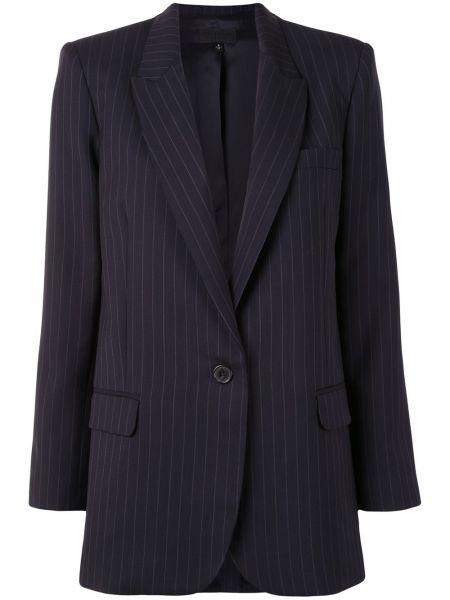 Шерстяной синий удлиненный пиджак на пуговицах Nili Lotan