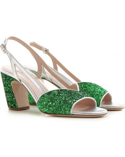 Skórzany zielony sandały na pięcie z brokatem Miu Miu