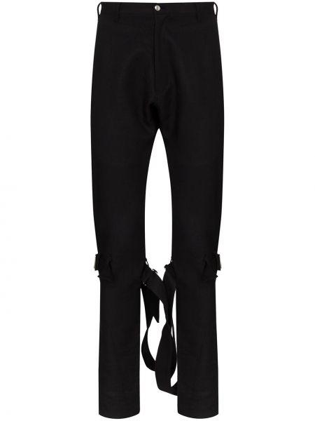 Czarne spodnie z wysokim stanem z paskiem Sulvam