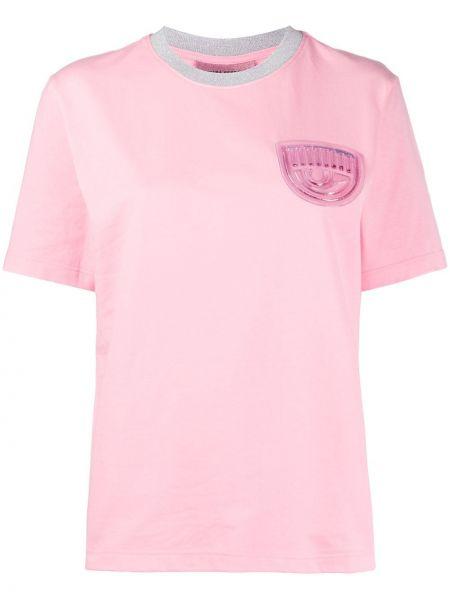 Хлопковый футбольный розовый топ в рубчик Chiara Ferragni
