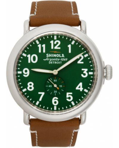 Zielony zegarek na skórzanym pasku skórzany szafir Shinola