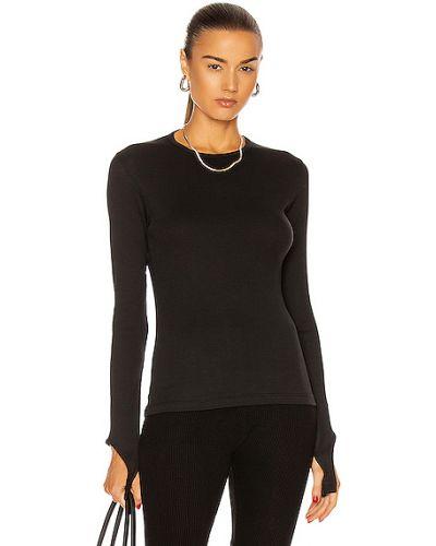 Czarny top z długimi rękawami bawełniany Helmut Lang
