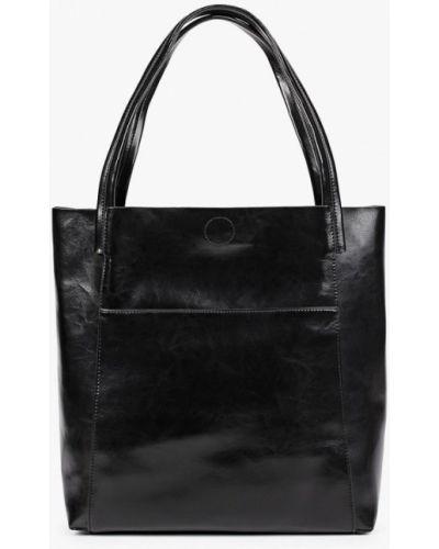 Черная сумка шоппер из натуральной кожи снежная королева