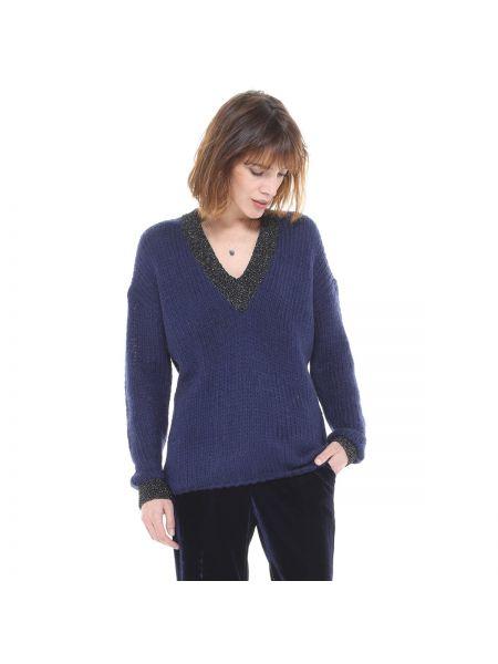 С рукавами акриловый темно-синий пуловер с V-образным вырезом Charlise