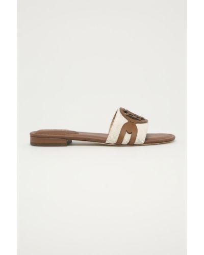 Brązowe sandały skorzane na obcasie Lauren Ralph Lauren