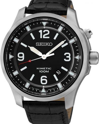 Часы водонепроницаемые с подсветкой с кожаным ремешком Seiko