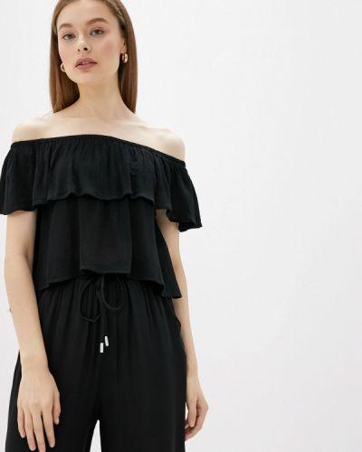 Блузка с открытыми плечами черная Alcott