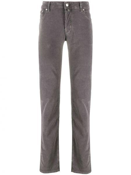 Кожаные серые классические брюки с карманами Jacob Cohen