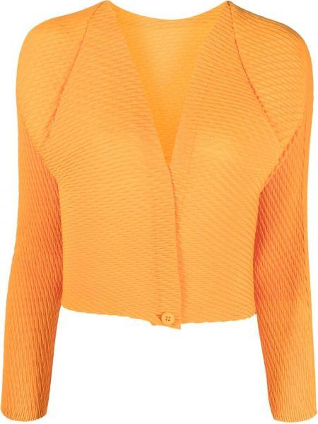 Плиссированный оранжевый удлиненный пиджак с вырезом Issey Miyake