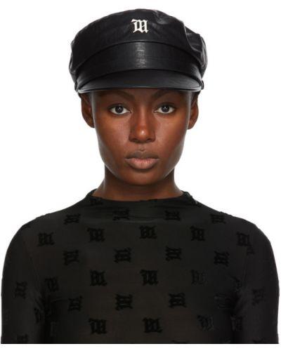 Włókienniczy czarny kapelusz prążkowany Misbhv