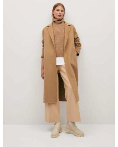 Деловое шерстяное пальто с воротником с лацканами Mango