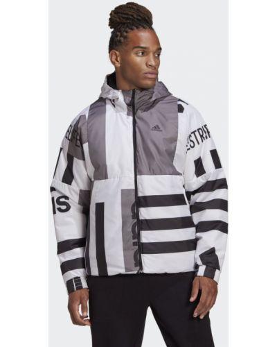Черная утепленная спортивная куртка в полоску Adidas