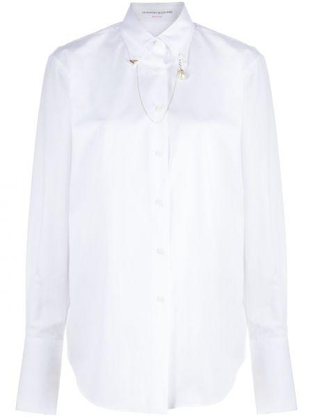 Белая классическая рубашка с воротником свободного кроя на пуговицах Ermanno Scervino